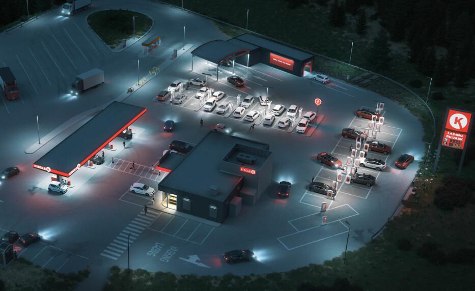 ENERGISTASJONER: Slik ser Circle K for seg at fremtidens stasjoner vil se ut. Foto: Illustrasjonsfoto/Circle K