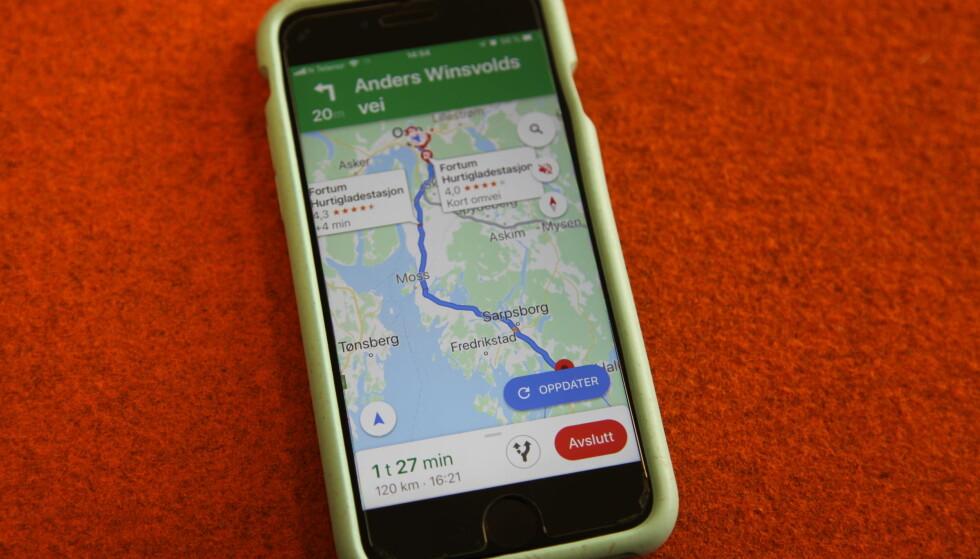 LADESTASJON LANGS RUTEN: På kartet vil alle registrerte ladestasjoner i din geografiske nærhet dukke opp. Foto: Christina Honningsvåg