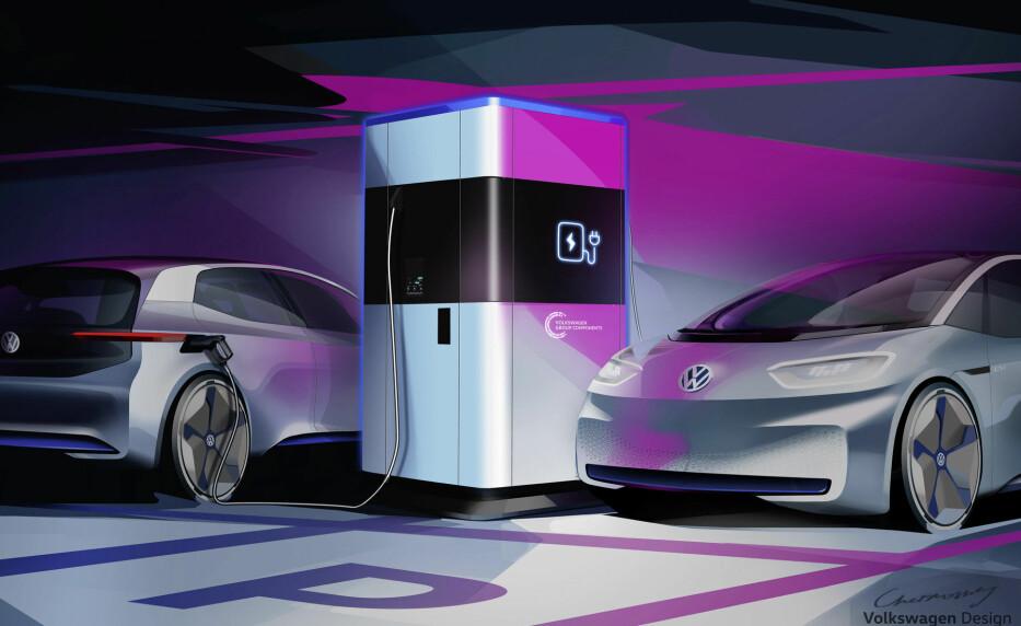 KRAFTSTASJON: Et fastmontert batteri for hytte eller hus kan være praktisk, men en transportabel batteribank? Illustrasjon: VW