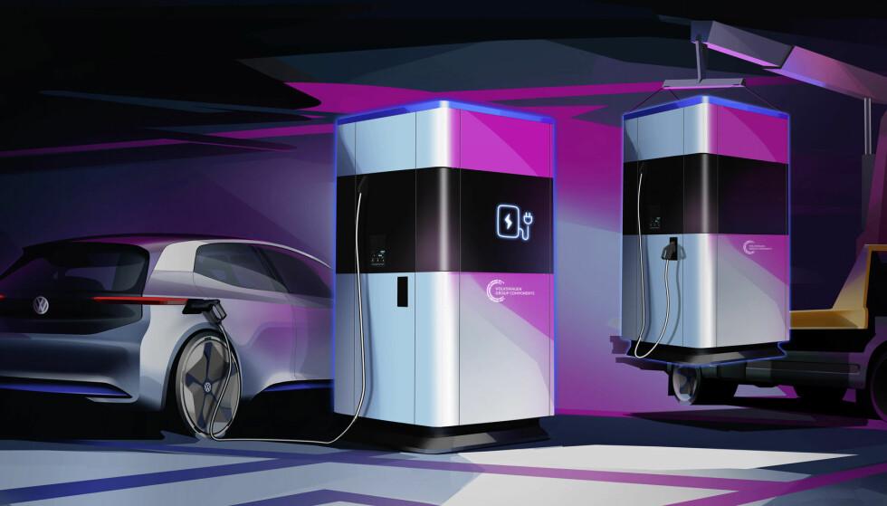 BYTTE: Banken er tenkt å byttes når den det er under 20 prosent igjen, og ladestrøm ikke er tilgjengelig. Foto: VW