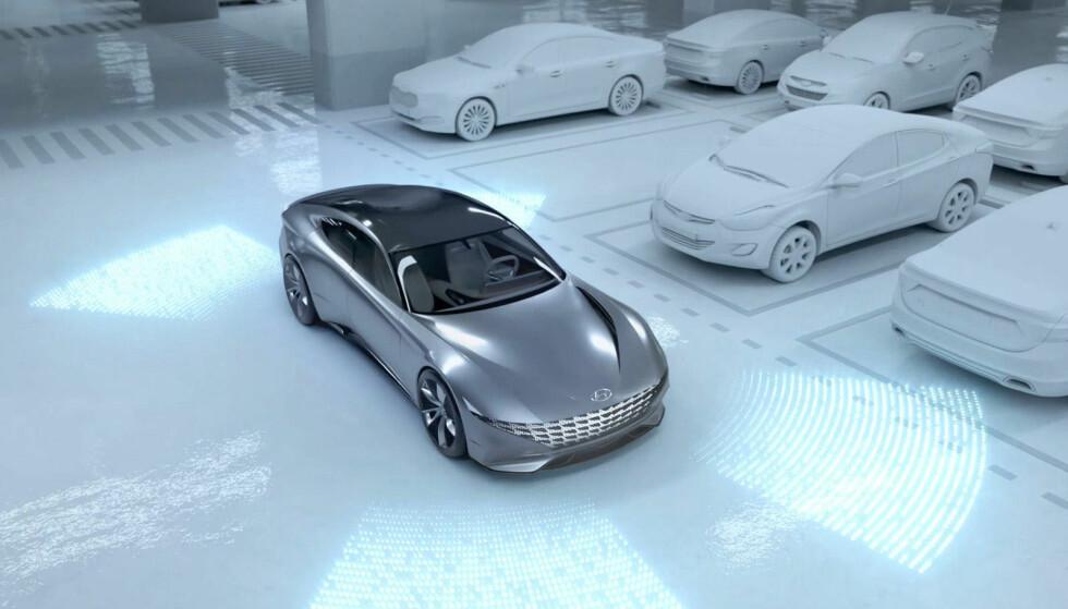 """PARKERER SELV: Et """"Automatic Valet Parking System"""" fikser parkeringen på egenhånd. Foto: Hyundai"""