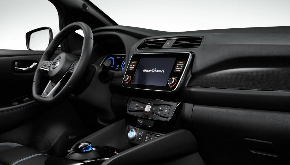 STØRRE: SKjermen i nye LEAF er en tomme større enn den forrige og blir satt i begge modeller. Foto: Nissan