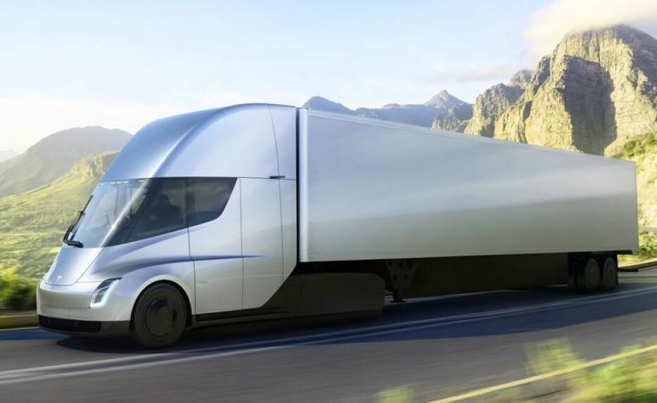 <strong>KOMMER:</strong> Snart kan 13 av disse trailerne kjøre på norske veier. Foto: Tesla/Travel Retail Norway