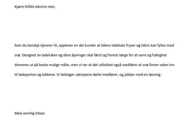 BREV FRA HYUNDAI: Dette brevet ble sendt ut til Hyundai KONA-eiere forrige uke. Foto: Örjan Wessberg, administrator for Kona Owners Club Norway på Facebook.
