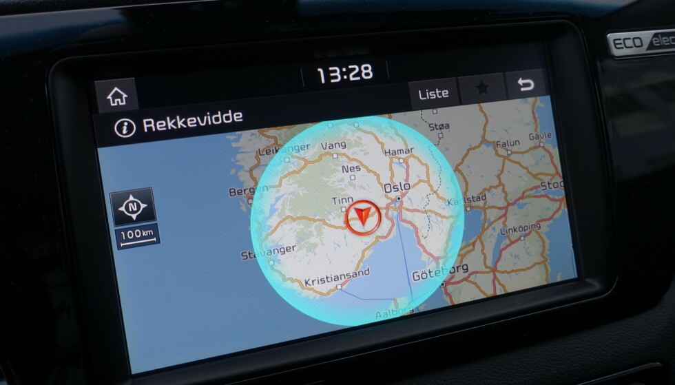 REKKEVIDDE: Navigasjonen forteller deg området du har til rådighet. Foto: Fred Magne Skillebæk
