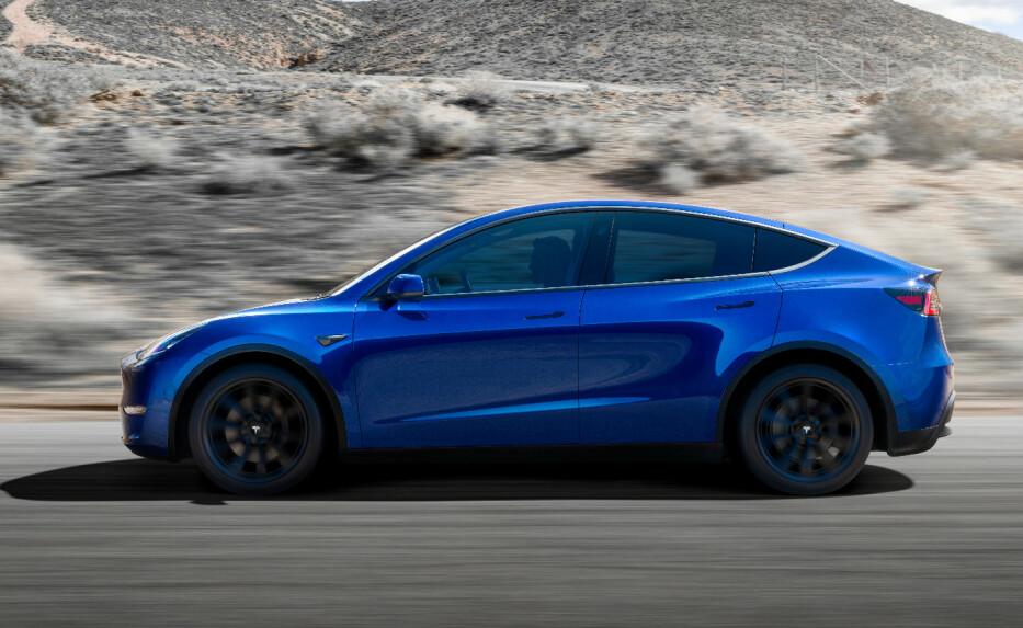 SPLITTER NY: Model Y er Teslas nyeste elbil. En mediumstørrelse SUV, beskrev Tesla-sjef Elon Musk den som under lanseringen. Foto: Tesla