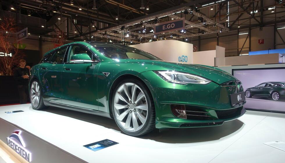 STASJONSVOGN: En Tesla Model S stasjonsvogn? Ja, men du finner den ikke til salgs hos produsenten. Foto: Fred Magne Skillebæk