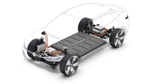 VIKTIG DEL: Batteriet utgjør en stor del av verdikjeden i en elbil. Foto: VW