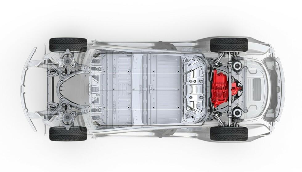 LEVETIDEN: Tesla mener levetiden for hele bilen vil være 1,6 millioner kilometer, inklusive batteriene. Foto: Tesla