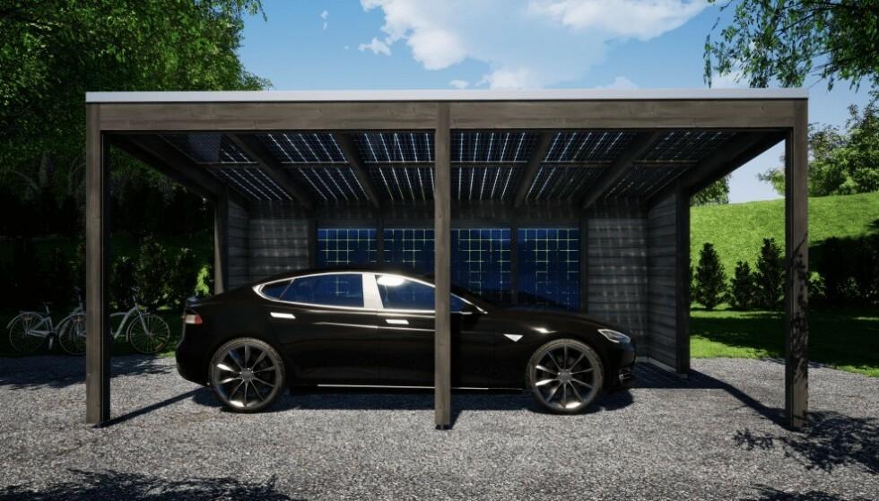 LADER BILEN GRATIS: Garasjene fra Solarport er dekket med solcellepaneler som lader elbilen. Foto: Solarport