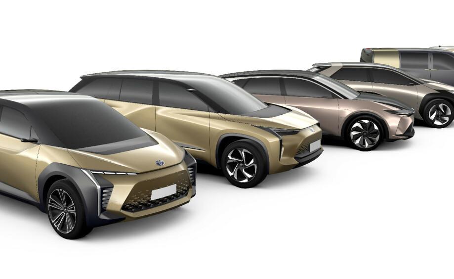 SEKS MODELLER: Toyota utvikler for tiden seks nye batterielektriske modeller, noe for enhver smak. Foto: Toyota