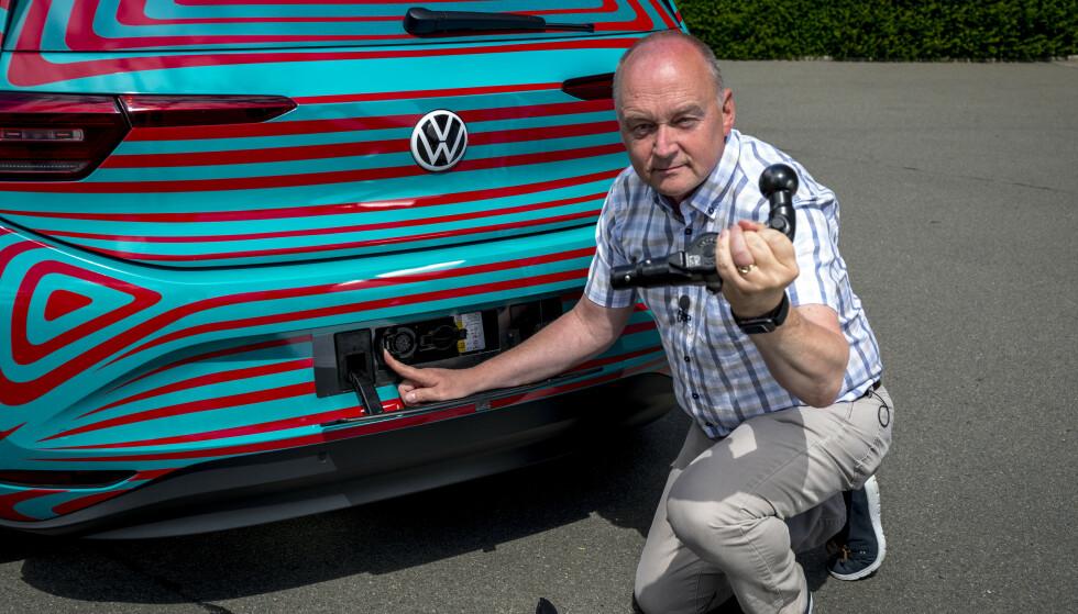 KROK: Ja, bilen kan leveres med krok, men kun for sykkelstativ og annet. Den er ikke beregnet som tilhengerfeste. Foto: Martin Meiners