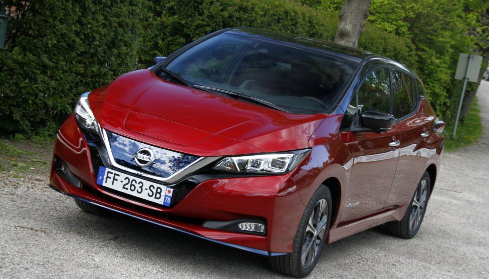 VINNER: Nissan Leaf stakk av med seieren for best solgte elbil i juli. Foto: Fred Magne Skillebæk
