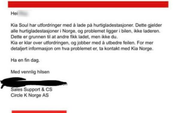 SKYLTE PÅ KIA: Ifølge svaret fra Circle K er det Kia sin skyld at bilen ikke fikk ladet. Foto: Privat
