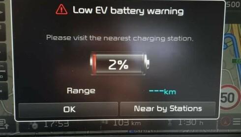 NOK? Kan man kjøre åtte kilometer på to prosent batteri? Foto: Anders Holt