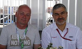 SJEFEN: Elbil24 møtte sjefen for Audi Motorsport, Dieter Gass, som dermed også har det overordnede ansvaret for Formel E. Foto: Fred Magne Skillebæk