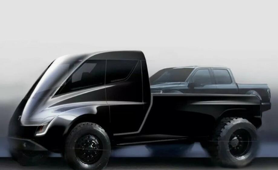 PICKUP: Dette er det eneste offisielle bildet av Teslas kommende Pickup. Bildet viser en vanlig pickup plassert på lasteplanet for å vise størrelsen. Foto: Tesla