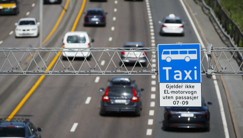 VIL HA FORBUD: Bussjåfører vil ha forbud mot elbiler i kollektivfeltet. Foto: NTB Scanpix