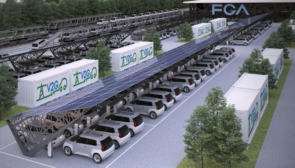 V2G: I fremtiden kan elbilens batteri levere strøm tilbake til strømnettet. Foto: FCA
