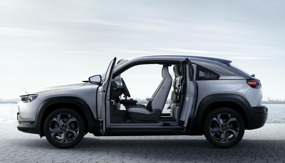 FREESTYLE: Mazda har valgt bakhengte dører til sin første elbil. Foto: Produsenten