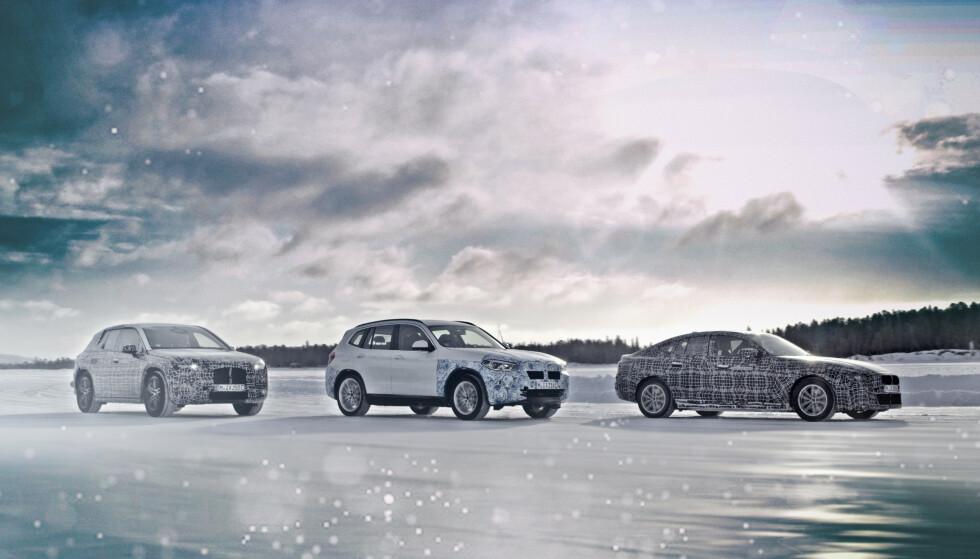 FREMTIDEN: Fra venstre BMW iNEXT, BMW iX3 og BMW i4.