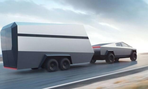 RIKTIG FØRERKORT: Du må ha førerkort klasse C1E for å kjøre en Cybertruck med tilhenger. Foto: Tesla