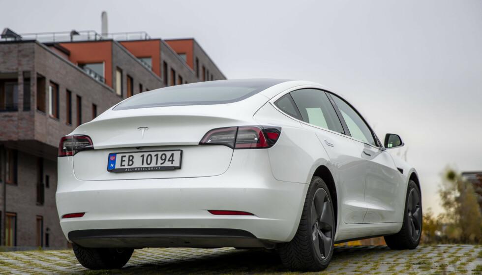 Tesla modell 3 med bakhjulsdrift. Foto: Håkon Mosvold Larsen / NTB scanpix