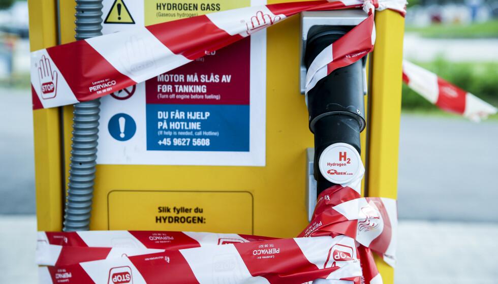 STENGT: Etter en eksplosjon ved en hydrogenstasjon i fjor sommer stengte Uno-X midlertidig sin stasjon i Sandvika. Foto: Vidar Ruud / NTB scanpix