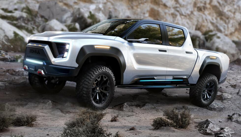TO ALTERNATIVE DRIVSTOFF: Nikola vil lansere en pickup med valgfri drivlinje, som hydrogenelektrisk eller batterielektrisk. Foto: Nikola