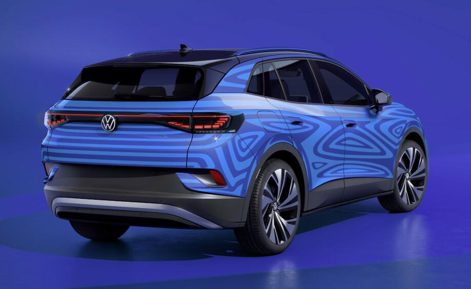 AVKLEDD: VW har startet med å kle av sin neste fullelektriske SUV, VW ID.4. Foto: Produsenten