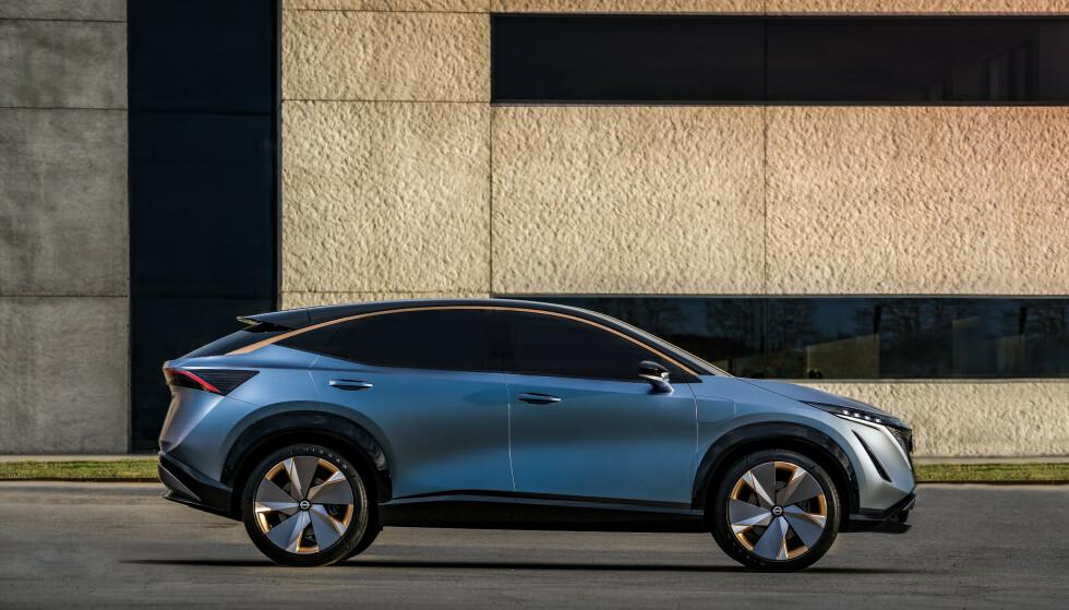 SUV: Nissan Ariya måler 4,6 meter i lengde, og smetter dermed rett inn i det segmentet nordmenn ønsker av størrelse. Foto: NIssan
