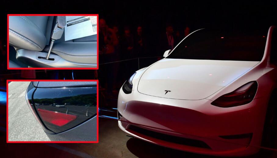 En kunde nektet å ta i mot Tesla Model Y da han fant lakkskader på bilen. I tillegg var ikke setebeltet festet skikkelig og bakseteraden var løs. Foto: Electrek / Frederic J. Brown / AFP.