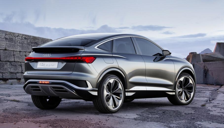 <strong>SPORTSLIG:</strong> Audi gjør det samme med Q4 e-tron som den eksisterende. De lager en kupé-utgave for å vise en mer sportslig versjon. Foto: Audi