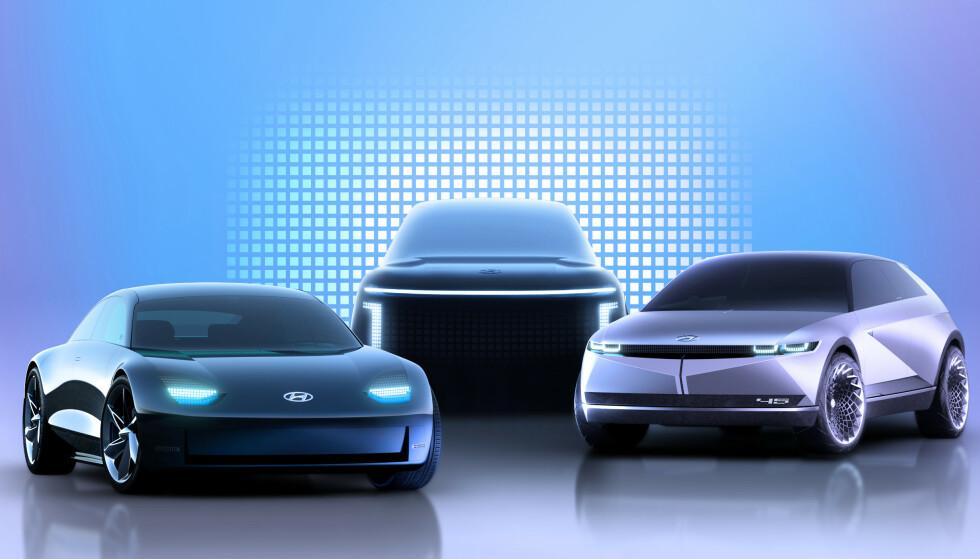 NYTT BILMERKE: Tre bilmodeller av merket Ioniq kommer på markedet i løpet av de neste fire årene. Foto: Hyundai
