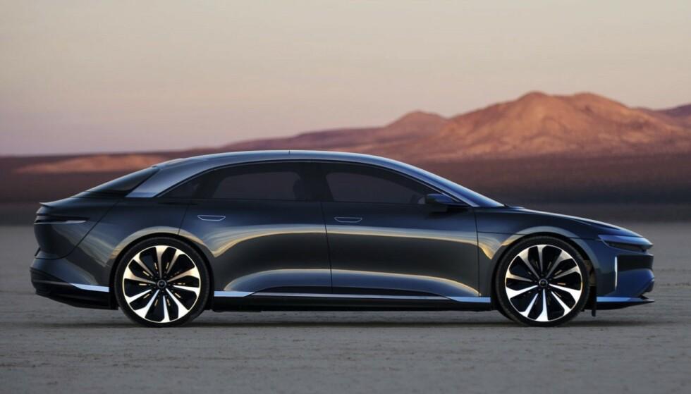 LUCID AIR: Lucid Air skal vli en luksuriøs sedan, en anelse mindre enn Tesla Model S i lengde. Foto: Lucid
