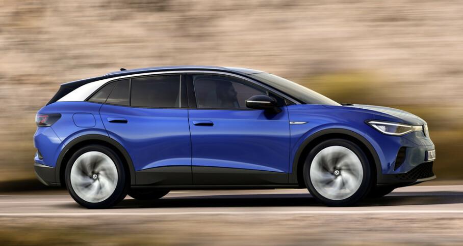 <strong>4,58 meter el-SUV:</strong> VW ID.4 er endelig avduket. Bilen kommer først over nyttår. Foto: VW
