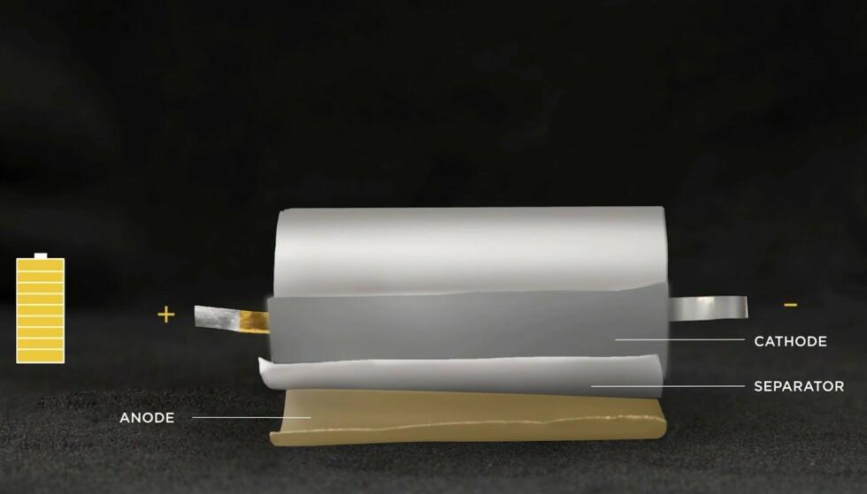 Tesla: Slik er hovedkomponentene i en slindrisk battericellene satt sammen.