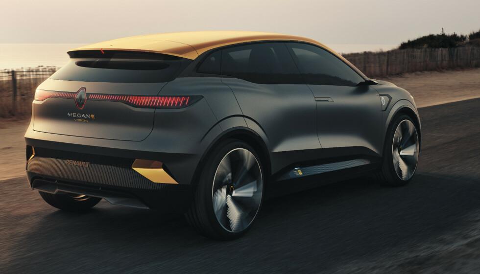 KOMPAKT-KLASSEN: Renault MeganE skal ut og konkurrere med VW ID.3 og Citroën e-C4. Foto: Renault