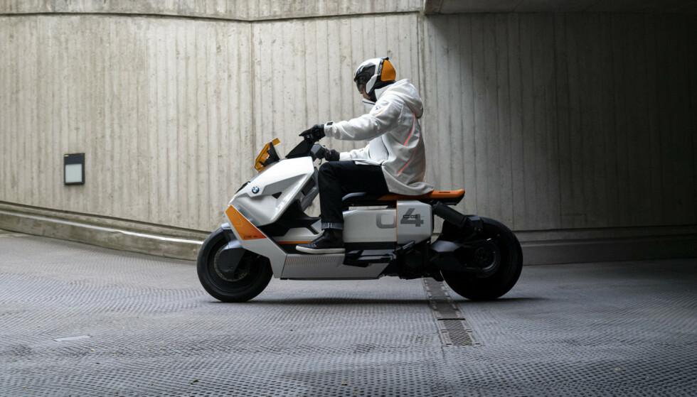 Nytt design: Lav profil på designet og lavt tyngdepunkt er stikkord når BMW har designet den nye scooteren. Foto: Produsenten