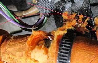 Her har musa tatt seg en jafs av strømkabelen i en e-golf