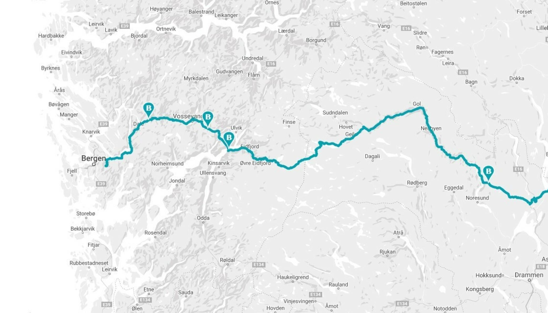 RUTA: Her ser du hele kjøreruta mellom Jessheim og Espeland i Bergen, over Hardangervidda. Turen er på 46 mil og har fire bomstasjoner - tre av dem gjelder også for elbil. Se regnestykke nederst i saken. Skjermdump: Bompengekalkulatoren.no