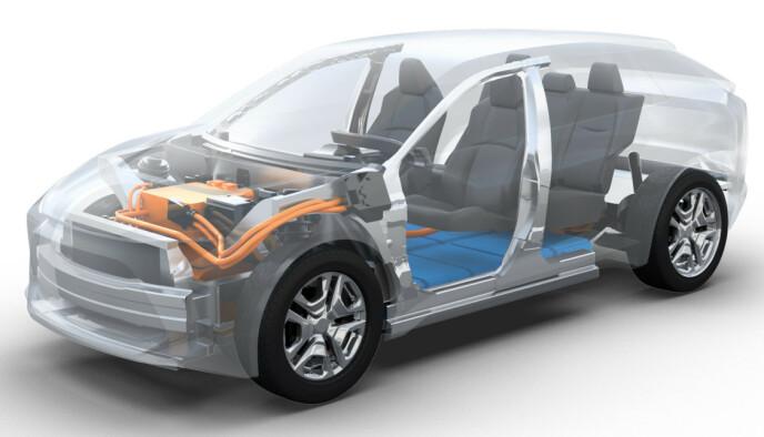 e-TNGA: Plattformen er modulær, og passer en rekke forskjellige biler. Batteriene ligger naturlig nok plassert i bunnen, og bilen kan bli to- og firehjulsdrevet. Foto: Toyota