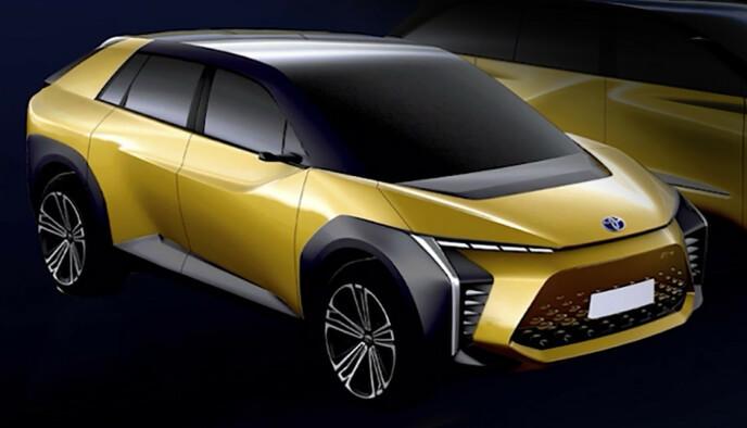 FØRST UT: Mye tyder på at dette blir første batterielektriske modell ut fra Toyota. Illustrasjon: Toyota