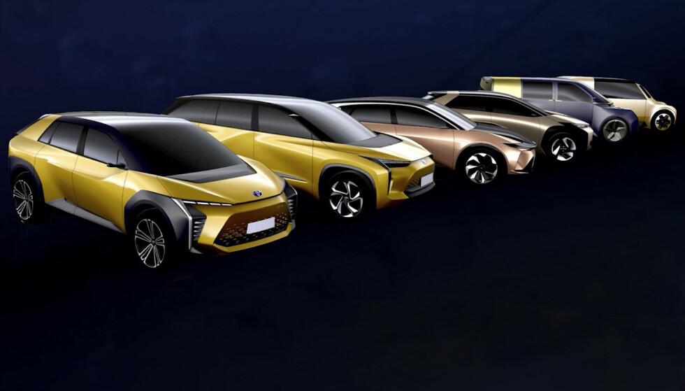 ILLUSTRERER: Toyota illustrerer sine nye modeller på denne måten. Rekkefølgen kjenner vi foreløpig, men nærmeste modell kan vise seg å komme først. Illustrasjon: Toyota