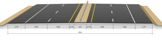 23 METER: Slik er dagens standard for firefelts motorvei. Fig: Statens vegvesen