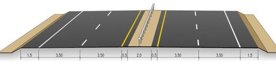 20 METER: Smalere veiskulder og midtdeler, mens filene fortsatt like brede. Fig: Statens vegvesen