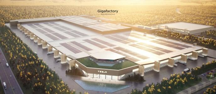 GIGANTISK: Slik blir den nye Tesla-fabrikken seende ut når den står ferdig til sommeren. Illustrasjon: Tesla