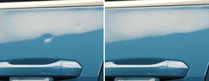 Før og etter: Bulken er rettet ut slik at skaden ikke trenger å lakkeres etterpå. Foto: xpressbulk.no