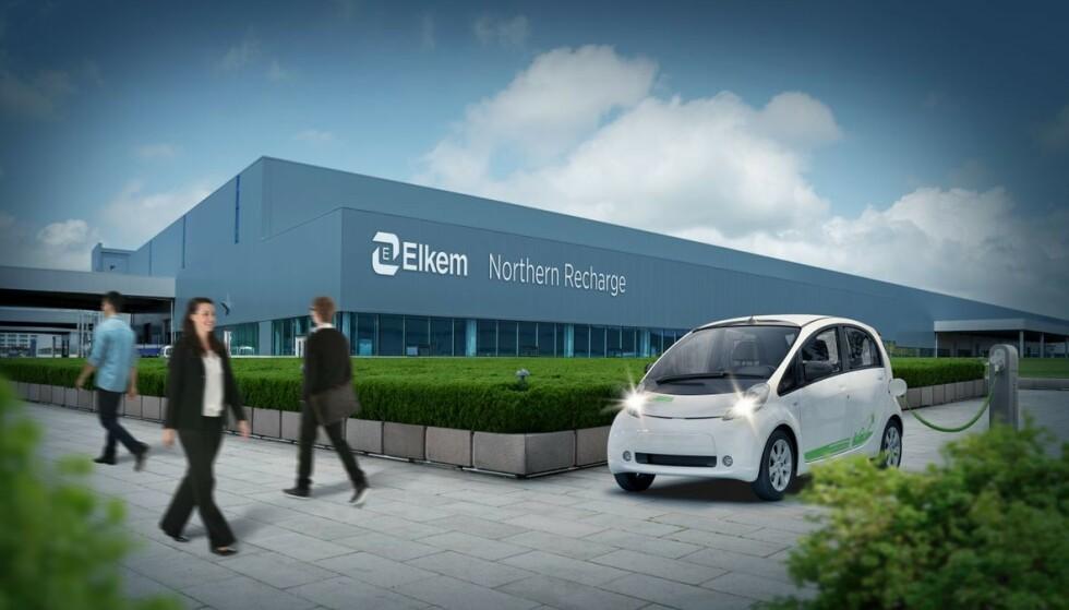 GRØNNERE: Elkem er en av flere som ønsker å satse stort på produksjon av batterikomponenter i Norge. Ifølge selskapet vil det kunne gjøres ekstremt mye mer miljøvennlig enn i mange andre markeder. Illustrasjon: Elkem