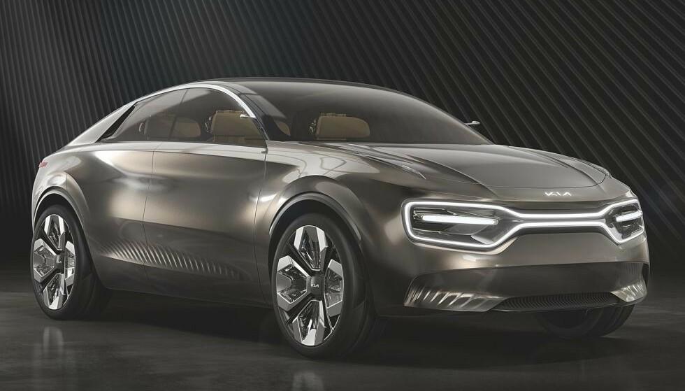 KIA CV: Den blir nok ikke seende helt slik ut, men Kias første helelektriske bil kommer til å være bygd på konseptbilen CV, som ble vist fram første gang i fjor vår. Foto: Kia